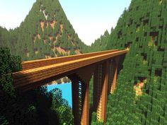 /r/minecraft: A simple mountain bridge.