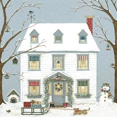weihnachten illustration Sally Swannell - Illustrator and Artist Christmas Scenes, Noel Christmas, Vintage Christmas Cards, Christmas Pictures, Winter Christmas, Christmas Crafts, Christmas Houses, Illustration Noel, Christmas Illustration