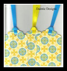 Handmade Blue Circles on Yellow Gift Tags Set of 3