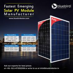 Bluebird Solar is one of the best Solar PV Module manufacturers in India. We also specialize in providing Rooftop solar power plants, Solar EPC Services and other solar power solutions like solar inverters, batteries and solar water pumps.