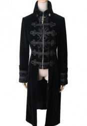 Punk Rave - Gothic Velveteen Court Dress Coat - Black [Y-401-Black] - £124.99 :