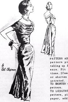 1950s RARE  Ceil Chapman Stunning Cocktail Party Evening Dress SPADEA American Designer 1251 Draped Neckline Beautiful Fan Drape Back Figure Flattering Designer Dress Bust 34 Vintage Sewing Pattern