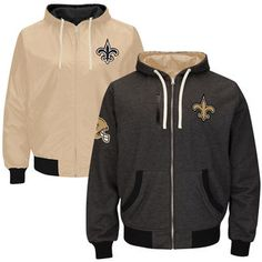 ab87dc3ae Mens New Orleans Saints Black Gold Tradition Reversible Fleece Full Zip  Hoodie