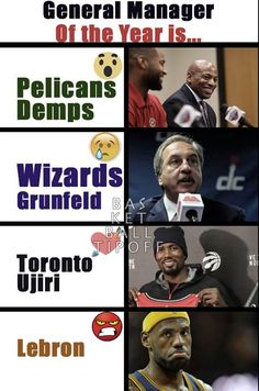 This year's best GM is.......  LA Lakers missed out on DeMarcus Cousins avoided the LA Lakers and ended up at the New Orleans Pelicans. (all those wasted Jersey Swaps).  1] :o General Manager Demps  Grunfeld president of John Wall's team made one major move acquiring Bogdanovic. 2] :( Washington Wizards Ernie Grunfeld   Toronto Raptors took a dive and got former teammate of Russell Westbrook. Serge Ibaka acts on his feelings and plays better. Brandon Jennings was also acquired. Community…