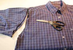 Tasche aus Hemd nähen – Ärmel abschneiden stoffbeutel nähen Upcycling: Tasche aus Hemd nähen