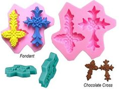 Silicone Decorative Twin Cross Mould for sale on Trade Me, New Zealand's auction and classifieds website Sugar Paste, Gum Paste, Rolling Fondant, Crosses Decor, Fondant Decorations, Mold Making, Craft Work, Resin Jewelry, Paper Mache
