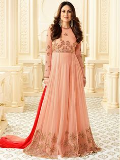 Shop Kareena Kapoor peach color georgette straight cut salwar kameez online at kollybollyethnics from India with free worldwide shipping.