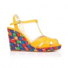 Statement wedges in multi-coloured cubic and yellow vegan leather, with a T-Bar, open toe and adjustable buckle. Pretty Clothes, Pretty Outfits, Material Girls, Uk Shop, Vegan Leather, Cinderella, Babe, Fashion Accessories, High Heels