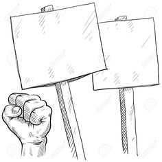 Doodle style picket or protest illustration in vector format