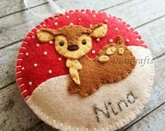 Personalized Christmas ornament, Wool felt Deer ornaments with Embroidered Name, Fawn ornament, Baby deer ornament Felt Christmas Decorations, Felt Christmas Ornaments, Personalized Christmas Ornaments, Christmas Projects, Felt Crafts, Holiday Crafts, Felt Projects, Felt Ornaments Patterns, Deer Ornament
