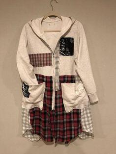 The Grace Art Jacket: Wearable art hoodie upcycled boho Grey Hoodie, Gray Jacket, Redo Clothes, Clothing Redo, Clothes Crafts, Upcycled Textiles, Upcycled Clothing, Denim Duster, Grace Art