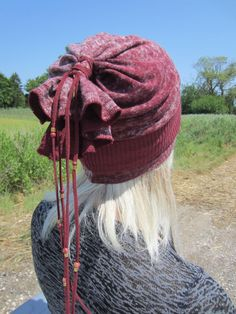 fc196f05833 Bohemian Clothes Slouchy Beanie Women s Fashion Hats BOHO style Clothing  Distressed Embroidered Burgundy Cotton A1606