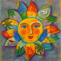 Best Painting Moon And Sun Solar Power Ideas Sun Moon Stars, My Sun And Stars, Art Soleil, Good Day Sunshine, Sun Designs, Sun Art, Mexican Folk Art, Painted Rocks, Art Projects