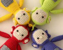 Screenies crochet pattern - amigurumi inspired by Teletubbies - Instant download