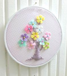 Çiçekli Ağaç Temalı, Pastel Renkli Kasnak Pano, Kapı Süsü