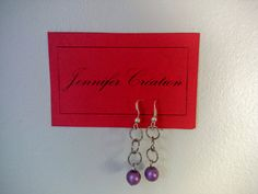 Handmade earrings with purple pearl / Boucles par JenniferCreation