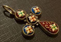18k gold enamel Cross - French Bressans - Bourg en Bresse city - Circa 1900