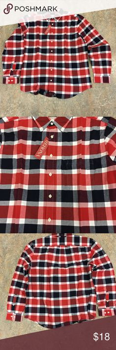 Merona Red/White/Blue Button Up Plaid XXLT Shirt Merona Red/White/Blue Button Up Plaid Shirt. Size XXLT. Merona Shirts Casual Button Down Shirts