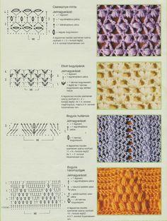 Horgolásról csak magyarul.: MINTÁK RAJZZAL LEÍRÁSSAL Crochet Borders, Crochet Stitches Patterns, Crochet Diagram, Crochet Motif, Stitch Patterns, Knit Crochet, Knitting Patterns, Loom Knitting Projects, Crochet Projects