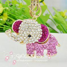 Accessories full rhinestone elephant bags buckle keychain ,