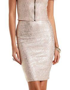 Foiled Metallic Bodycon Pencil Skirt: Charlotte Russe