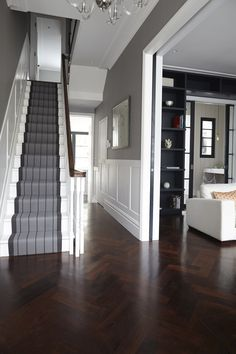 Victorian Hallway Uk Home Design Ideas, Renovations & Photos – Home Renovation Hall Flooring, Wood Flooring, Flooring Ideas, Wood Paneling, Wood Wainscoting, Wall Panelling, Garage Flooring, Entryway Flooring, Wood Parquet