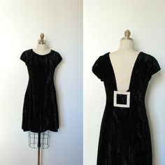 Vintage 1960s Black Velvet Estevez Cocktail Dress