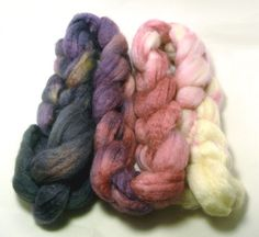 Handpainted  BFL Wool/Tussah Silk Roving  Lady by creaturecomforts, $18.00  Beautiful!