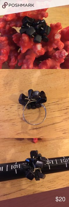 Black coral wire ring Beautiful black coral Jewelry Rings