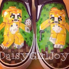 Custom hand painted Minecraft  Stampy Longhead stampylongnose Toddler Children's shoes on Etsy, $50.00