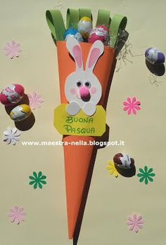 maestra Nella: carota porta ovetti Holiday Crafts For Kids, Easter Crafts For Kids, Diy And Crafts, Holidays With Kids, Preschool Activities, Happy Easter, Projects To Try, Paper, Handmade