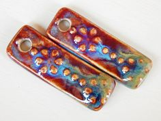 Handmade porcelain Earring Pairs boho red  green and por Majoyoal