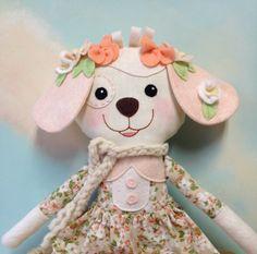 Dog Stuffed Animal / Fabric Stuffed Animals / Plushies / Gifts For Children / Baby Shower Gifts /Fabric Dolls Handmade / Girl Dog Doll by CarolinaMoonMoppets on Etsy https://www.etsy.com/listing/508422361/dog-stuffed-animal-fabric-stuffed
