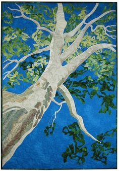 A quilt representing one branch of a huge almost 400 year old American Sycamore Tree. I love the angle.