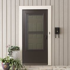 EMCO 75 Series 36 in. White Self-Storing Storm Door-E75SS-36WH ...