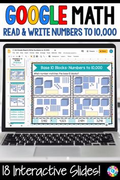 """LOVE THE VARIETY OF PRACTICE!"" This 3rd Grade Read and Write Numbers to 10,000 resource for Google Slides contains 18 slides for practicing reading and writing numbers to 10,000, and using standard form, word form, expanded form, and unit form. Place Value Games, Place Value Worksheets, Google Classroom, Math Classroom, Google Math, Educational Math Games, Teaching Place Values, Teaching Skills, Third Grade Math"