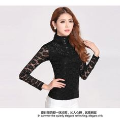 Elegant Ladies High Neck Blouse Long Sleeve T Shirt Womens Floral Lace Slim Tops | eBay