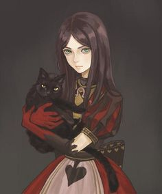 Alice Madness Returns: Alice with Dinah Alice Liddell, Alice Madness Returns, Desenhos Tim Burton, 60 Year Old Woman, Chesire Cat, Cheshire, Anime Lindo, Disney, Adventures In Wonderland
