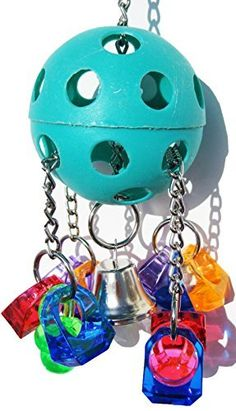 Bonka Bird Toys 1938 Paci-Pull Bird Toy parrot cage toys cages african grey conure  1938 Paci pull bird toy is an entertaining thread through toy that will delight small to medium-sized birds. A big vibrant Wiffle ball is threaded with durable link chain and decorated with brightly colored acrylic rings, it is finished in the center with a medium-sized bell. Pulling on the rings will raise the opposite side, making it an enjoyable interactive toy. It determines around 9 inches high by 3…