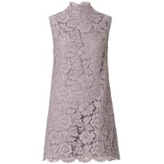 VALENTINO Bow-detail lace dress ($2,274) ❤ liked on Polyvore featuring dresses, vestidos, short dresses, платья, grey, gray dress, lace mini dress, short floral dresses, short grey dress and floral dresses