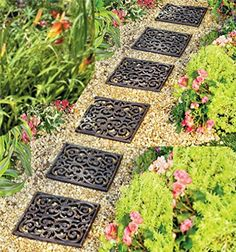 Home Improvements Outdoor Garden Set of 3 Square Rubber Stepping Stones Tiles Walkway Scrolled Brown > Visit the post for more. Garden Paths, Lawn And Garden, Garden Edging, Garden Structures, Decorative Stepping Stones, Wood Walkway, Garden Tiles, Green Lawn, Flower Beds