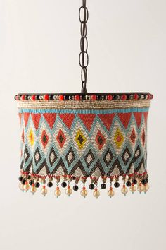 KIRDI PENDANT LAMP inspired by intricately beaded aprons worn by women in farming communities of certain countries in central Africa. Motifs denote social status within the tribe. No two are exactly alike. Bohemian Decor, Boho Chic, Boho Lighting, Deco Boheme, Ideias Diy, Lamp Shades, My New Room, Handmade Home, Design Trends