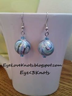 Large Blue and Black Swirl Dangle Earrings on EyeLoveKnots. Hypoallergenic. Limited Supply!