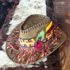 Gypsy Faux suede Ibiza hat - Cowboy Hat - Bohemian - Hippie hat