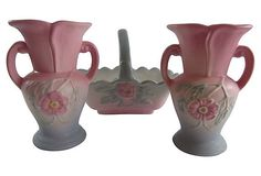 Three Piece Hull Pottery Cabinet Set Wild Rose Open by acornabbey