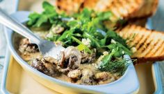 An indulgent meat-free main meal. Baked Mushrooms, Stuffed Mushrooms, Recipe Search, Blue Cheese, Main Meals, Bruschetta, Baking Recipes, Delicious Desserts, Tasty