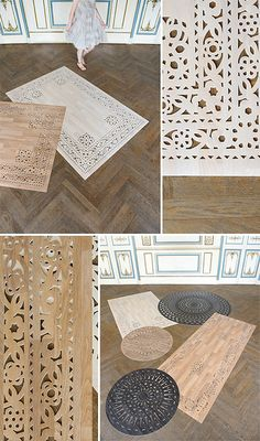 Arzu Firuz produces lacy faux bois rugs using sheet vinyl. Easy to wipe clean and roll up for moving or storage.