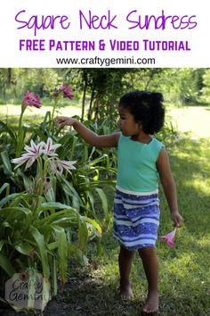 Crafty Gemini | Girl's Square Neck Sundress Pattern and Tutorial- 30 Days of Sundresses | http://craftygemini.com