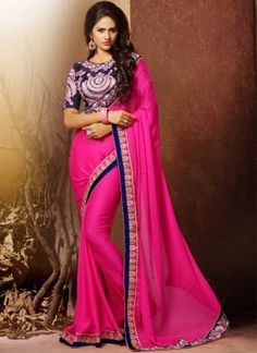 Spice up your never ending beauty with this embroidered sari in pink color chiffon. The gorgeous lace, resham and stones work a considerable feature of this attire. Designer Kurtis, Designer Silk Sarees, Latest Designer Sarees, Mode Bollywood, Bollywood Fashion, Indian Bridal Lehenga, Indian Sarees, Indian Blouse, Hyderabad