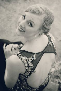 Female portrait - prom picture ideas - black and white - homecoming - formal wear photography